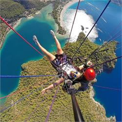 Paragliding over the  Blue  Lagoon  Fethiye  Turkey