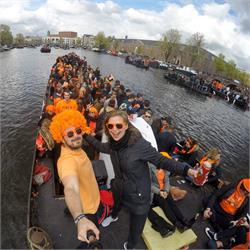 Partying on a boat for  Kings  Day  Netherlands
