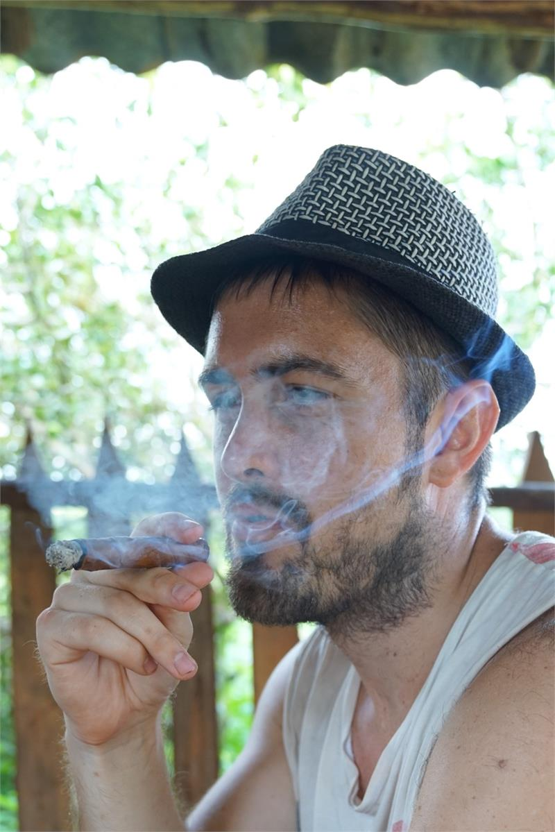 Aug 2017 - Smoking cigar at  Vinales tobacco plantation 2