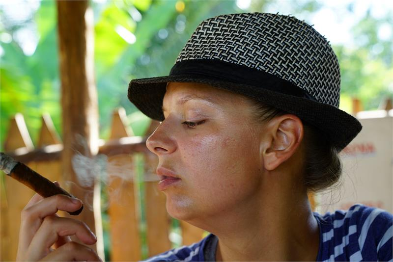 Aug 2017 - Smoking cigar at  Vinales tobacco plantation 3
