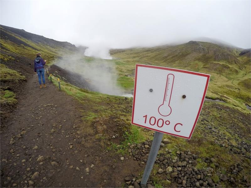 May 2017 - A sign on the walk into  Reykjadalur