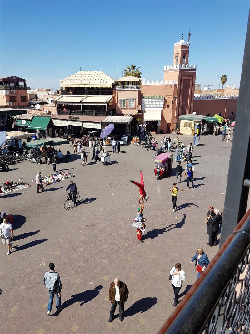Apr 2020 - Looking on from a cafe in  Jamaa el  Fna  Marrakech